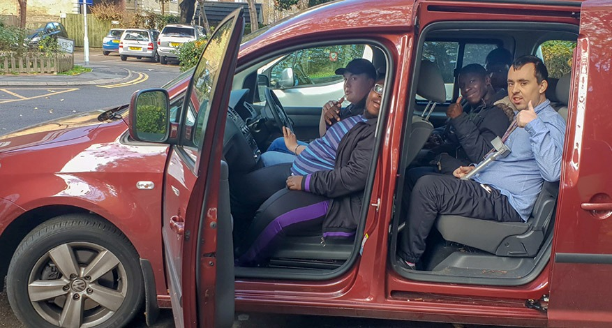 Transporting children with disabilities in donated car
