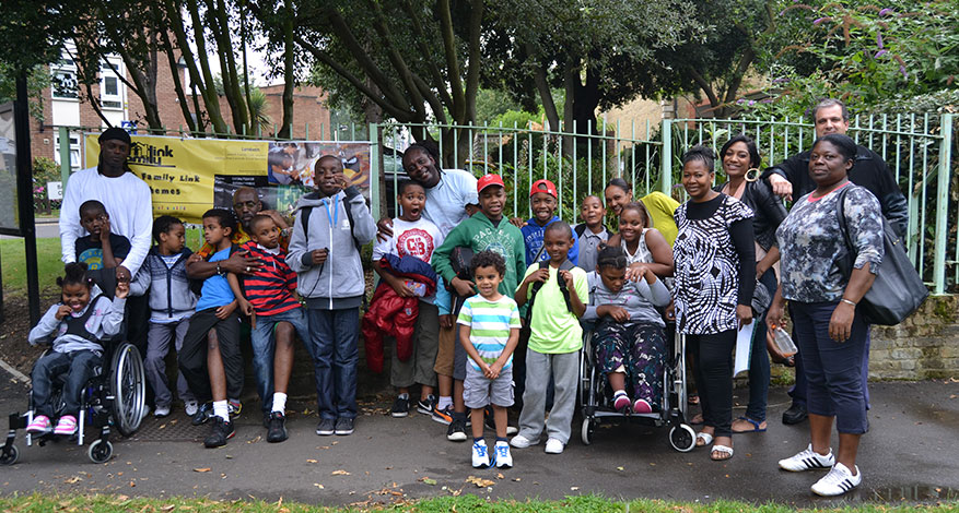 Carers and children from Lambeth Family Link gather for a picture.