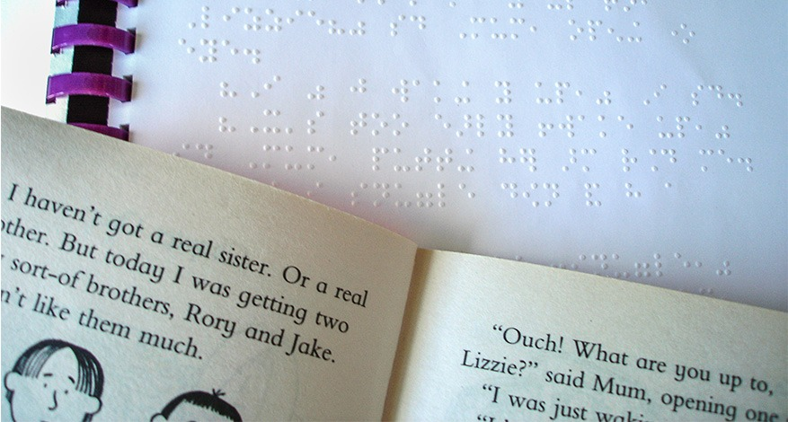 Braille at Clearvision for visually impaired children