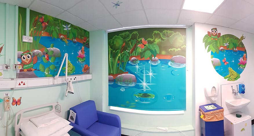 Momentum Children's Charity hospital room decorated with wildlife theme.