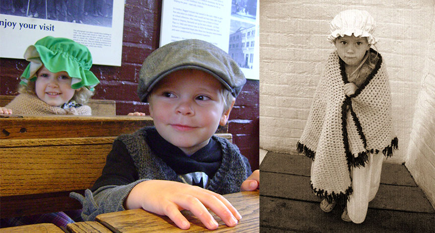 Children play dress up in Victorian clothes at the Ragged School in London.