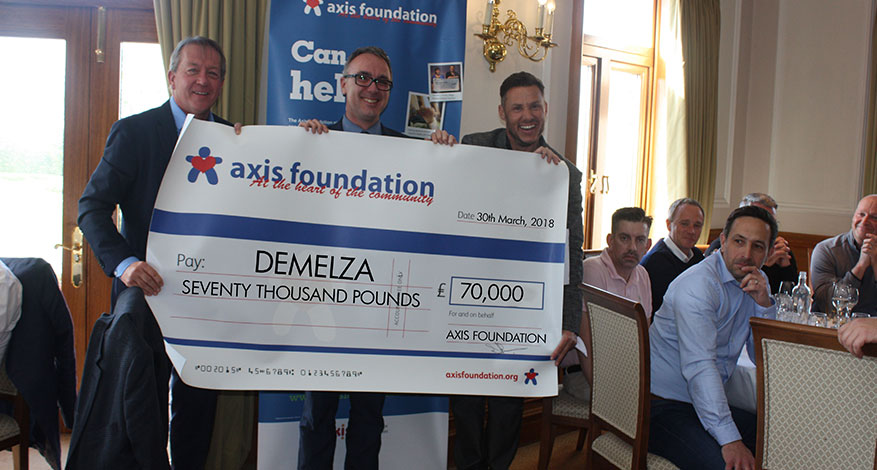 Axis Foundation trustees present 2018 cheque to Demelza