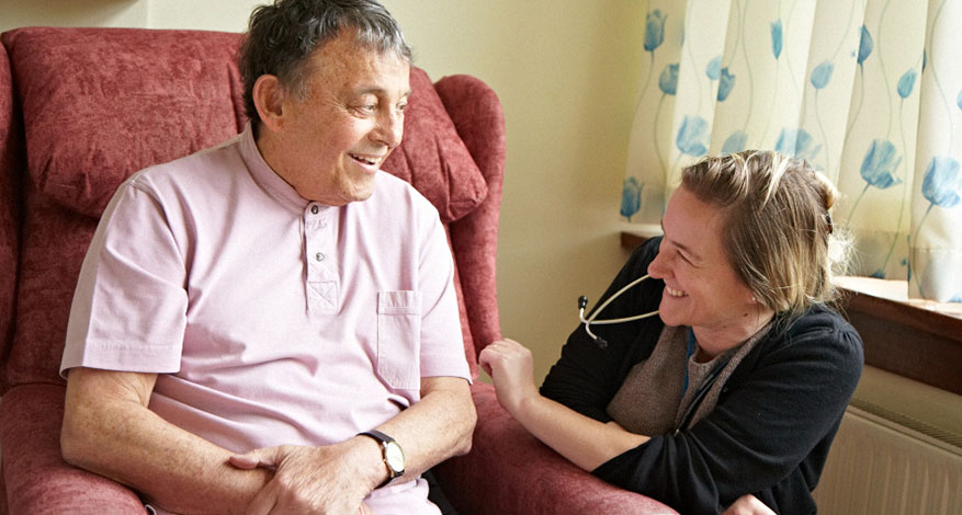 Carer with patient at St Christopher's Hospice.