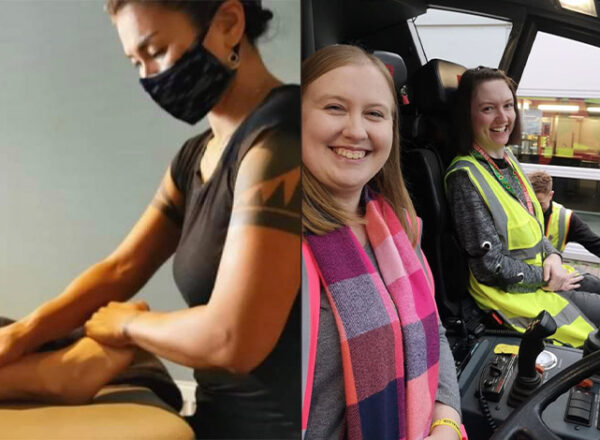 Collage showing massage and two women in a bus one in yellow vest, one in bright scarf SEDS