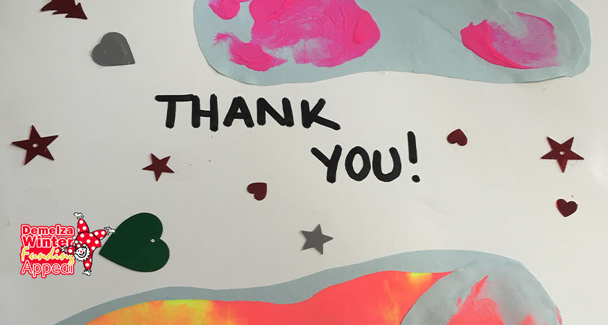 Winter Appeal Thank You in child's handwriting with hearts and stars