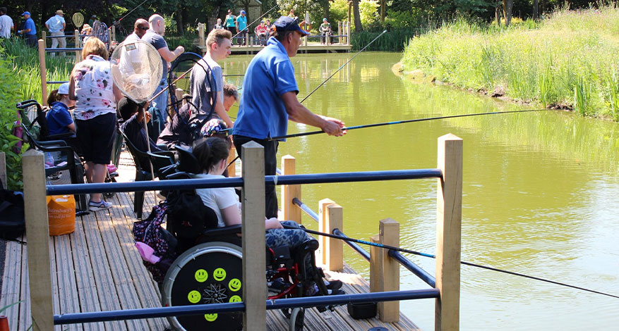 Accessible platform with wheelchair users fishing BDAA